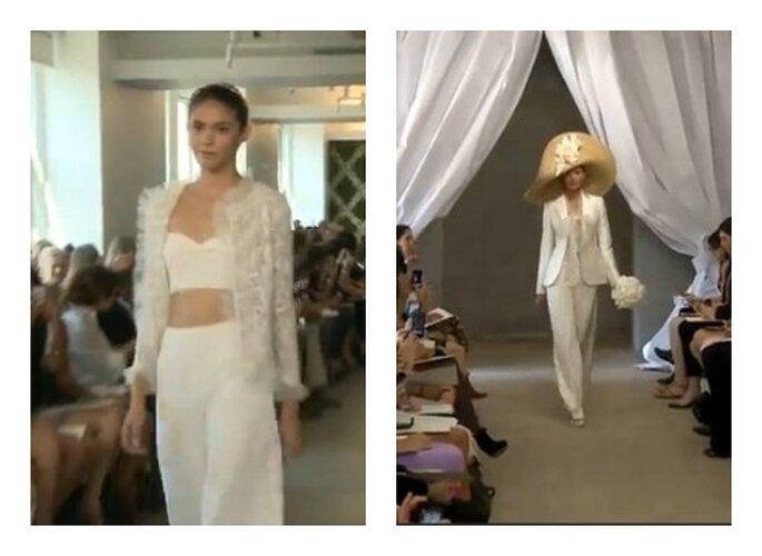 Oscar de La Renta e Carolina Herrera nello loro ultime collezioni propongono pantaloni. Foto: youtube.com