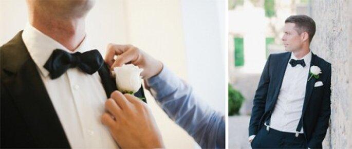 Forma de hacer un sencillo boutonniere para el novio - Foto Nadia Meli