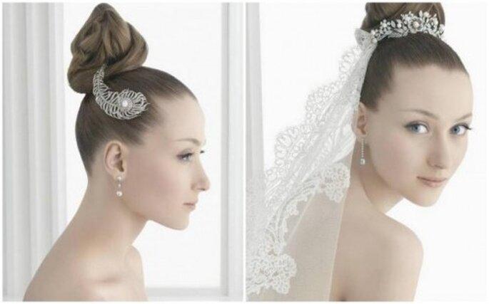 Haarschmuck ergänzt die Brautfrisur und den Brautschleier –Foto: Rosa Clará