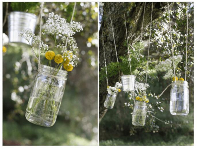 Decoración de boda con tarros de cristal - Foto Jesi Haack
