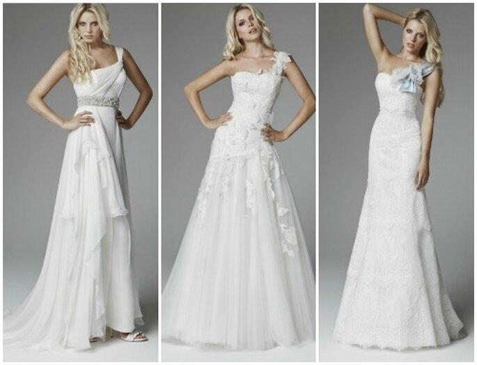Tre proposte di abiti monospalla firmate Blumarine Sposa Collezione 2013. Foto www.blumarine.com