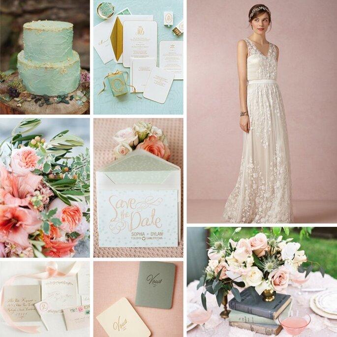 Decoración de boda con detalles en color rosa pastel - Fotos de The Nichols. Rachel Peters Photography y Millie B Photography
