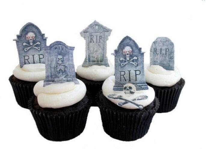 Cupcake toppers inspirados en un cementerio. Foto: www.etsy.com