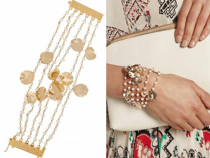 Accesorios en color dorado para una invitada fashionista - Rosantica en Net a Porter