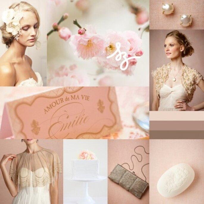 Collage de inspiración para una boda romántica en rosa y colores neutros - Foto nicrocdesigns.com, bhldn.com, stylemepretty.com, weddingchicks.com. Diseño de Raisa Torres para SZ Eventos