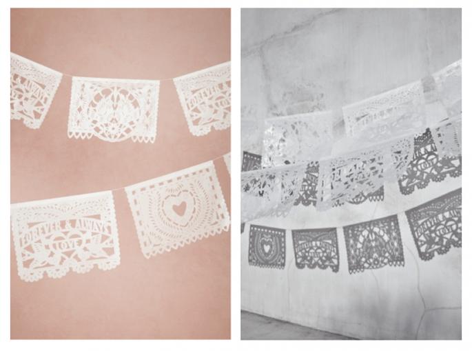 Decoración de boda con papel picado - Foto BHLDN