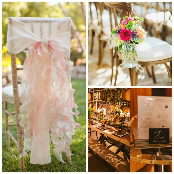 Décorez les chaises de rubans et de fleurs - Source : Pinterest - carnet de mariage http://pinterest.com/cdemariage/boards / https://www.carnetsdemariage.tumblr.com & Pinterest - go réception http://pinterest.com/pin/436075176389326741 / https://www.carnetsdemariage.tumblr.com