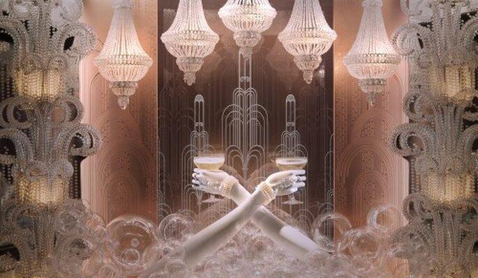 Brazaletes hechos de perlas con piedras preciosas inspiradas en The Great Gatsby - Foto Tiffany Facebook