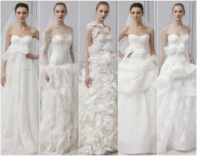 5 modelli della Collezione 2013 di Monique Lhuillier.Foto: Monique Lhuillier