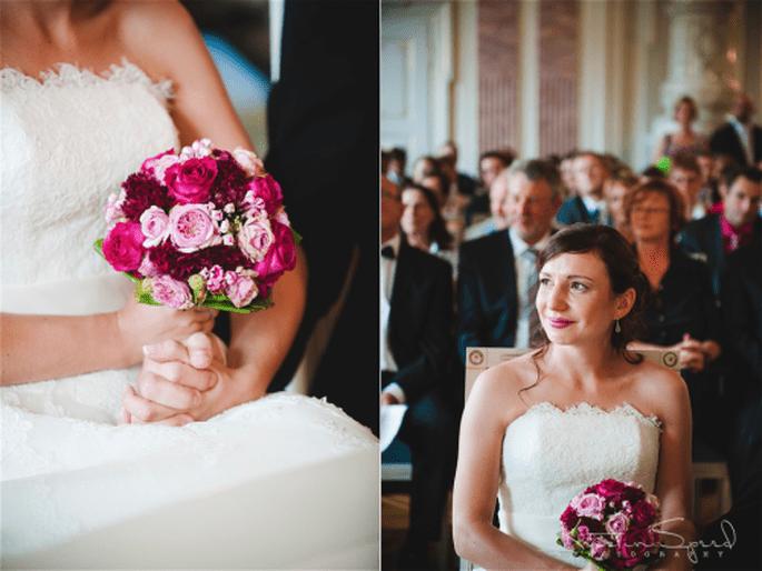 Ramos de novia en vino, fucsia y lila. fotografía Kristin Speed
