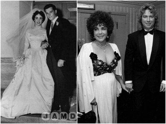 Liz Taylor lors de son premier et de son dernier mariage