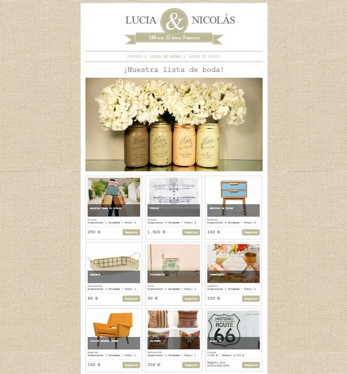 Ejemplo de web de boda