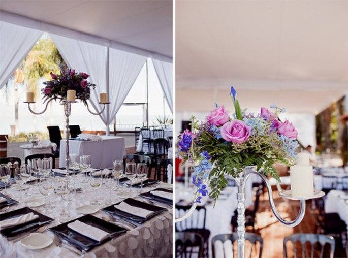 Tendencia en centros de mesa para boda altos. Imagen  Evgenia foto