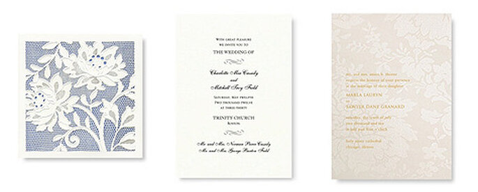 3 modelos de invitaciones para boda de Vera Wang
