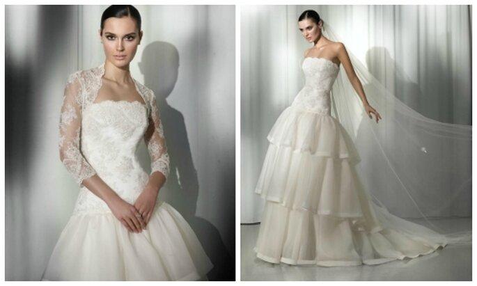 Vestido de novia utilizando también bolero de encaje. Pepe Botella