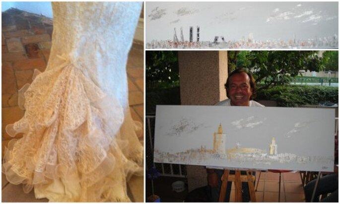 Ricardo, el novio posa feliz con una parte del díptico. Cristina lució un modelo de Victorio&Luccino muy acorde con la boda en Sevilla.