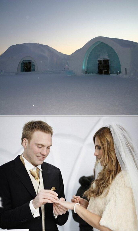 Images de l'hôtel de glace. Photo de l'entrée : Stephan Herz - www.sherz.net. Photo du mariage : Hans-Olof Utsi