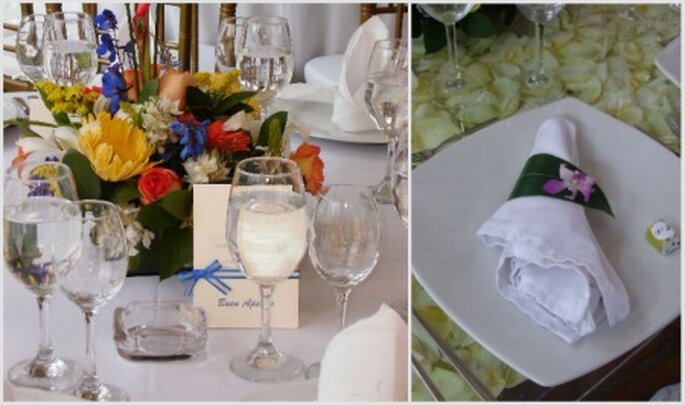 Dos tendencias en centros de mesa: tú eliges los colores. Fotos: Hacienda Remanso del Río