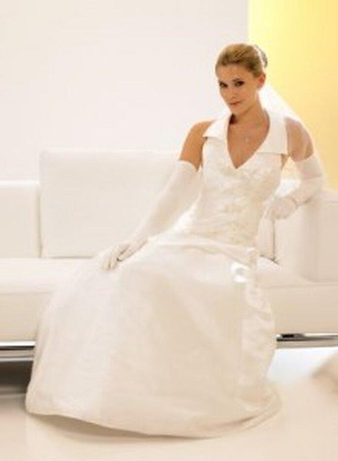 Weise 2010 Classic - Zweiteiliges Brautkleid aus Satin, mit Kragen und Handschuhen