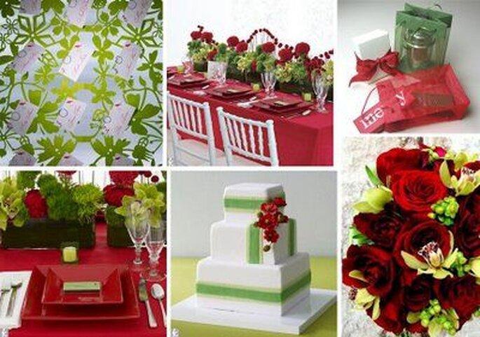 Tripudio di rosso e bianco per un matrimonio a dicembre