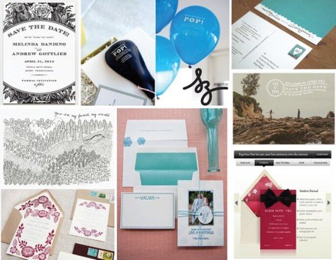 Collage de inspiración para las invitaciones de boda. RecursosInternetgratis, Ohsobeautifulpaper, Printablepress, Lovevsdesign