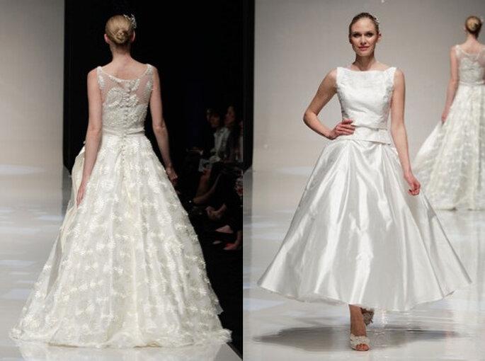Dos vestidos de novia de Blue Bridalwear 2014. Pasarela de la White Gallery 2013. Foto: www.bluebridalwear.co.uk