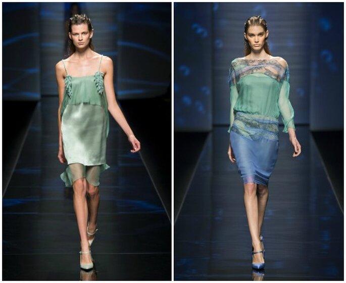 Due proposte in colori pastello con tessuti lucidi e scivolati. Alberta Ferretti S/S 2013. Foto Ufficio Stampa Aeffe S.p.a.