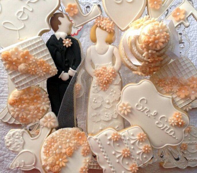 Bolacinhas em forma de noivos da Cookieria By Margaret. Foto: Cookieria By Margaret