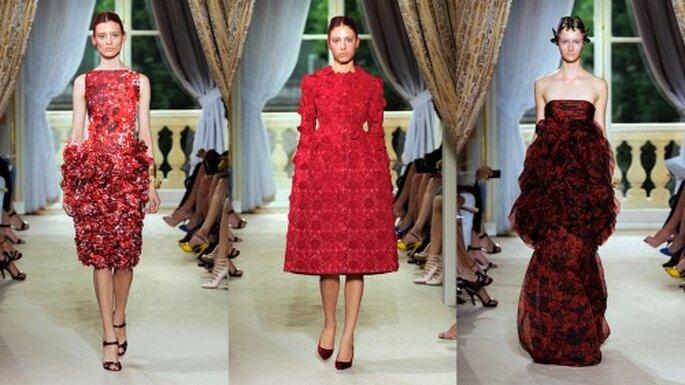 Lleva un vestido rojo a la boda. Foto pasarela Giambattista Valli Haute Couture 2012-2013