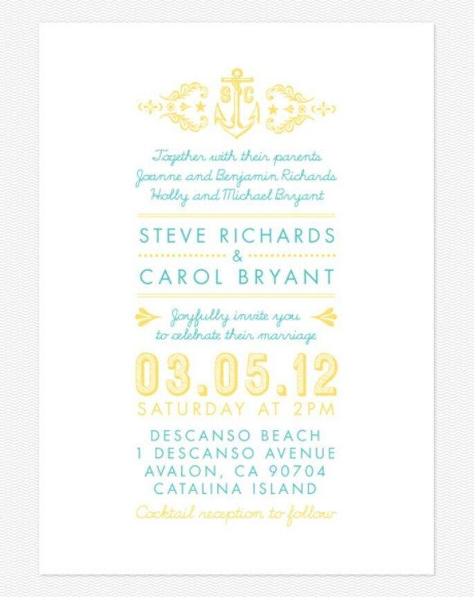 Invitación de boda en color amarillo. Foto: Love vs. Design