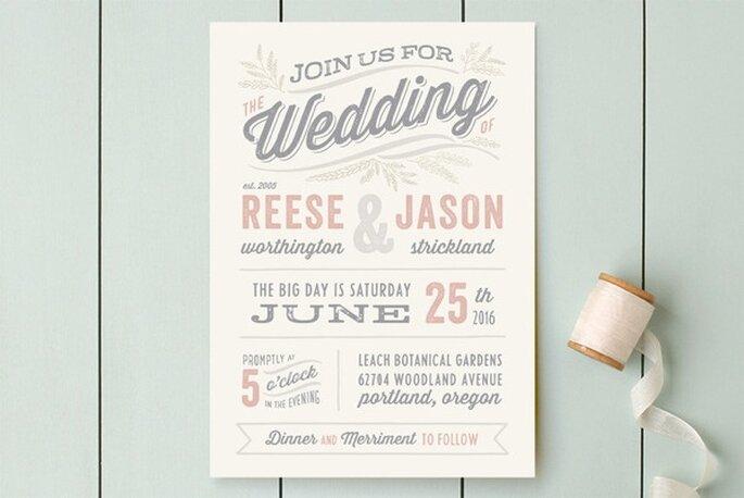 Diseño de invitaciones de boda súper original - Foto Minted