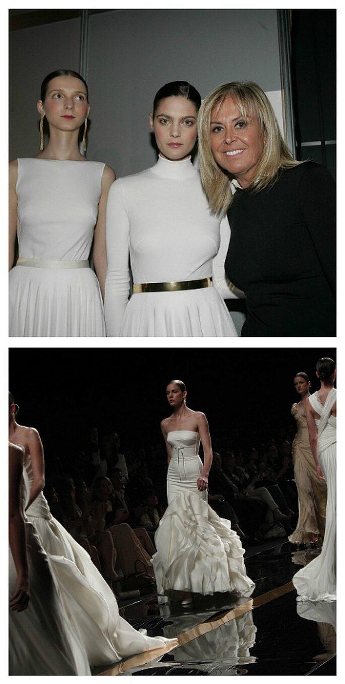 La diseñadora, junto a algunas de sus modelos