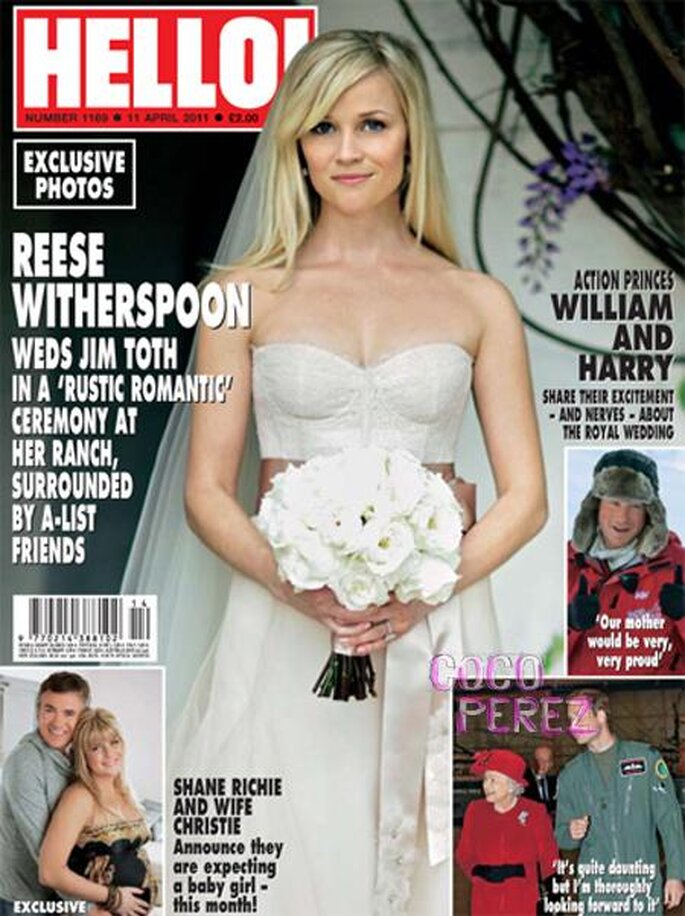 Reese Witherspoon setzte Altrosa Akzente – Foto: hello magazine, monique lhuillier