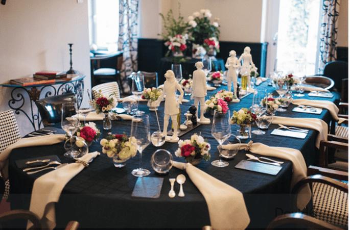 Manteles negros para tus mesas de boda. Fotografía David One