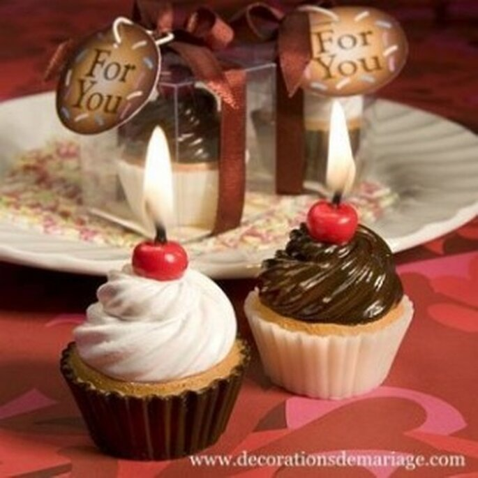 Bougies cupcakes vanille et chocolat