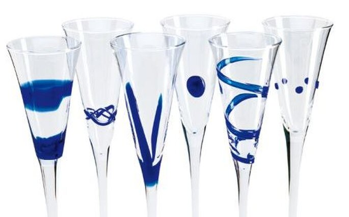 Copas decoradas con azul para el brindis del final