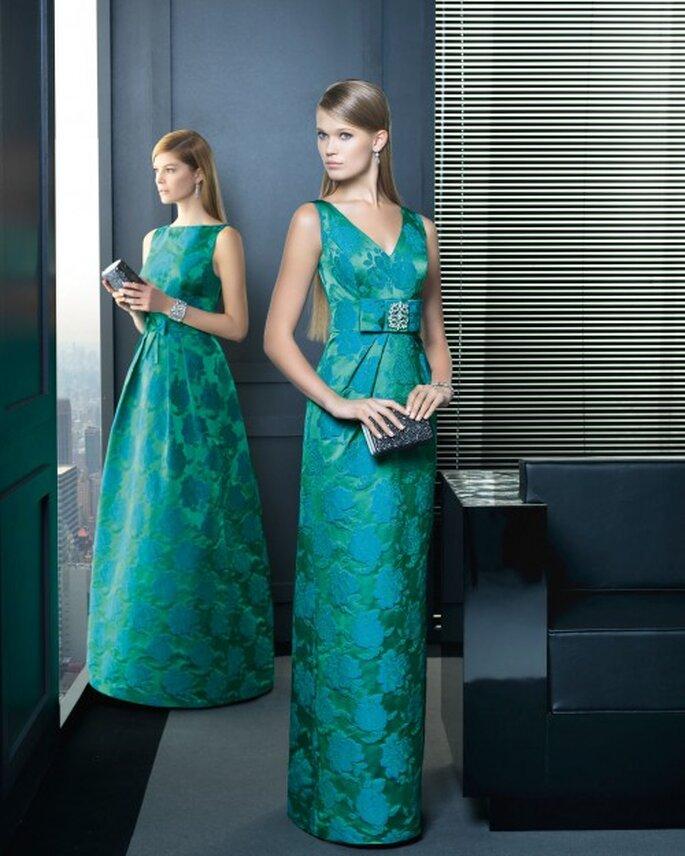 Vestidos de fiesta 2014 en color verde turquesa con estampados - Foto Rosa Clará
