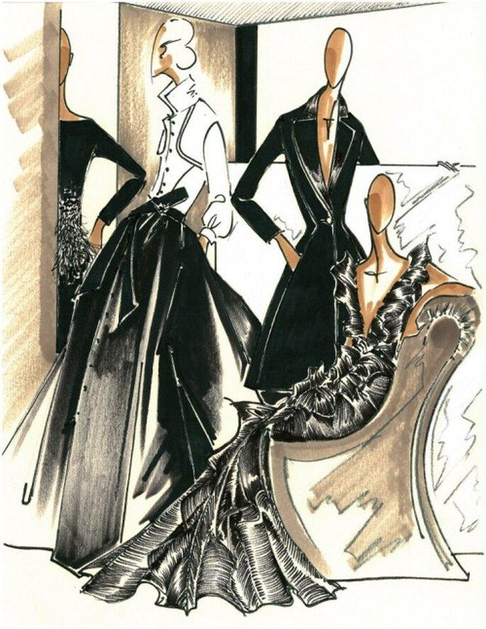 Bocetos de los vestidos en color negro para boda elegante - Foto Carolina Herrera Facebook