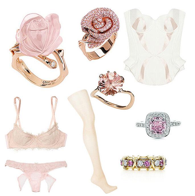 Accesorios 'chic': sortijas y alianzas en oro rosa con cuarzo, morganita y diamantes, de Dior Joaillerie, corpiño de satén, de Agent Provocateur, conjunto de lencería en seda y encaje, de Damaris, medias nude de Wolford, anillos con diamantes y zafiros rosa, de Tiffany.