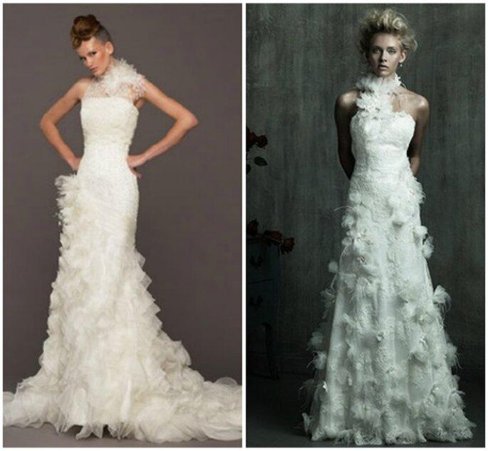 Vestidos de novia con plumas. Model Novias y Allure Bridal
