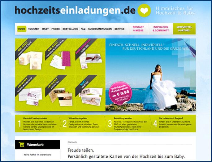 Übersichtlich gestaltet - die Online-Seite hochzeitseinladungen.de