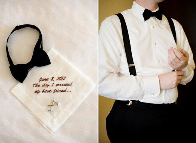 Detalle del traje y pañuelo que usó Matthew en su boda - Foto Jen Lynne