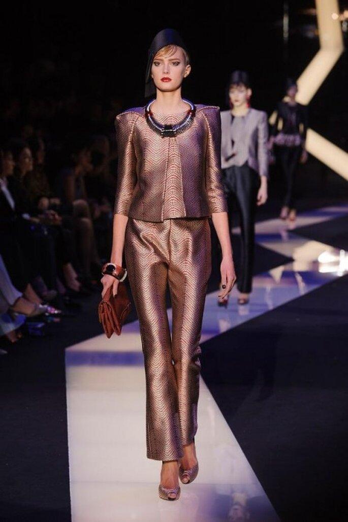 Traje saste y pantalones de fiesta 2013 de corte recto en color cobrizo - Armani Privé