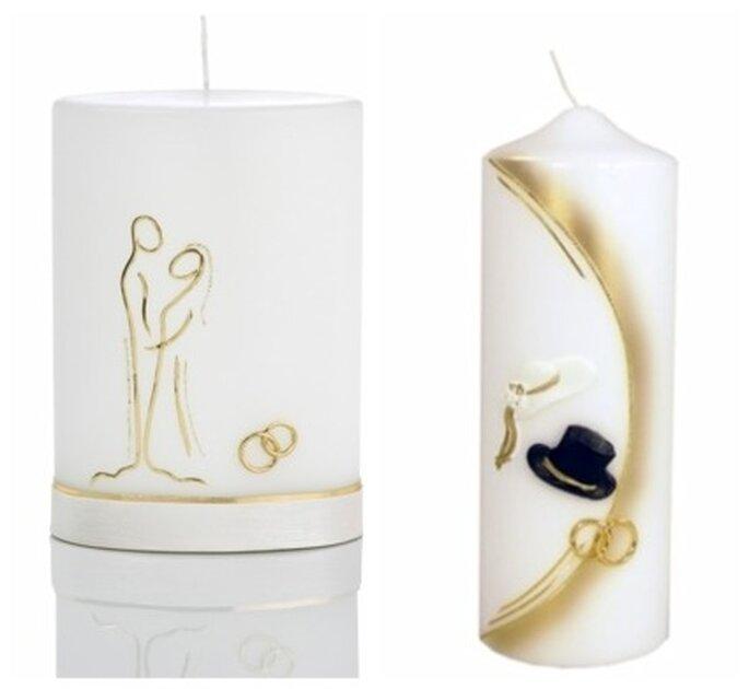 """Hochzeitskerzen aus dem weddix shop. Links im Bild Hochzeitskerze """"Innigkeit"""", rechts im Bild """"Braut und Bräutigam"""""""