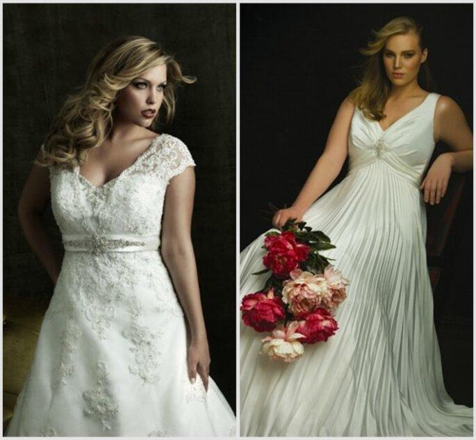 Los vestidos corte imperio favorecen mucho la figura. Fotos: Allure Bridals