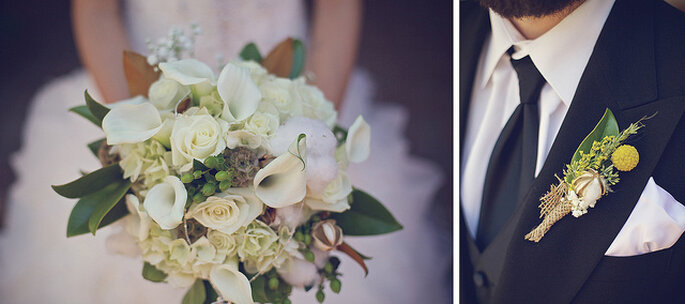 Armoniza la combinación del ramo con el boutonniere del novio. Foto: B&E Photographs