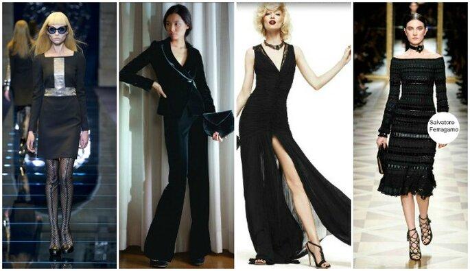 Beaucoup de noir dans les collections A/H 2012-13 des stylistes italiens. De gauche à droite, Versace, Giorgio Armani, Roberto Cavalli, Salvatore Ferragamo.