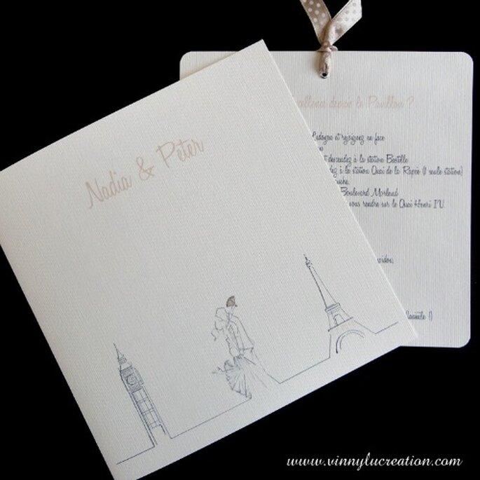 Faire-part de mariage personnalisé sur le thème Paris Londres - Vinnylu Création