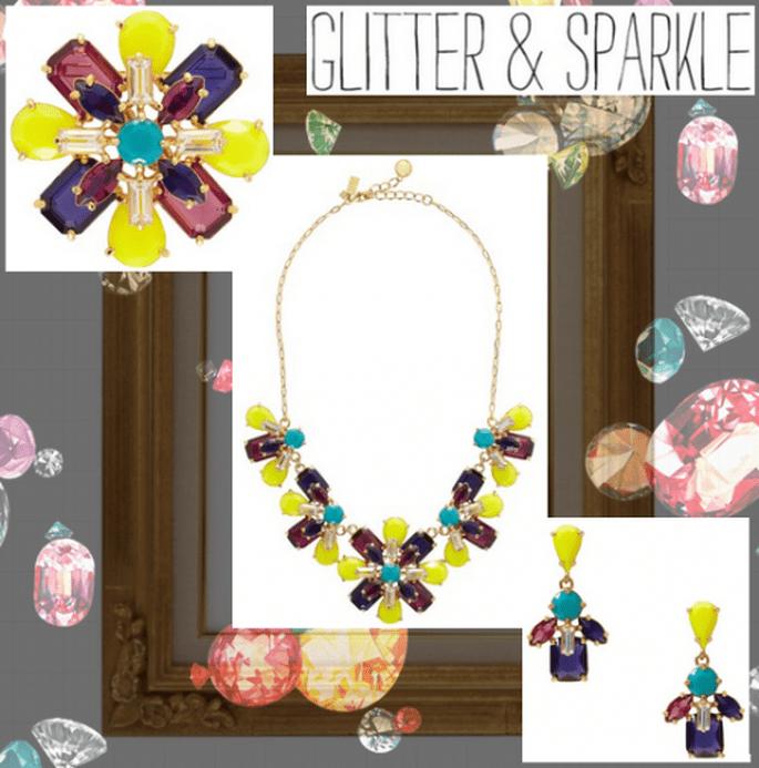Collar, aretes y prendedor en forma de flor con piedras preciosas en colores neón - Foto Kate Spade, collage hecho en Clothia