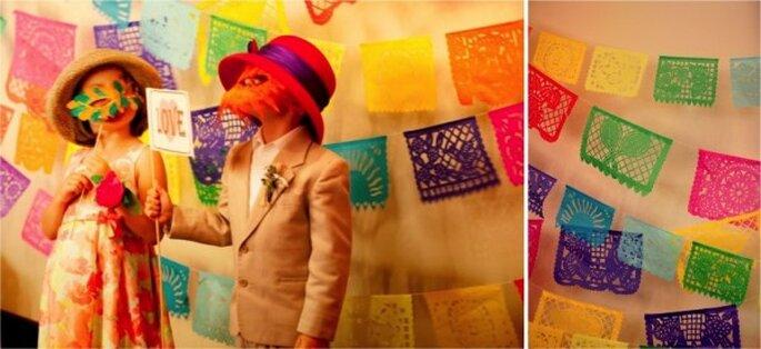 Decoración de boda con papel picado - Foto Vanessa Ha Photography